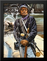 Female Buffalo Soldier 22x28 Large Black Wood Framed Art Print by J. Jones