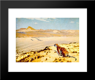 Tiger On The Watch: Modern Custom Black Framed Art Print by Jean Leon Gerome