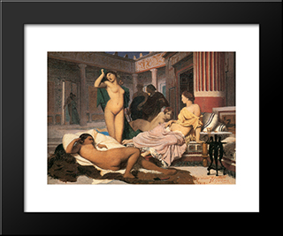Greek Interior [Sketch]: Modern Custom Black Framed Art Print by Jean Leon Gerome