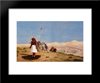 Prayer In The Desert: Modern Custom Black Framed Art Print by Jean Leon Gerome