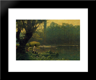 Summer Afternoon On A Lake: Modern Custom Black Framed Art Print by Jean Leon Gerome