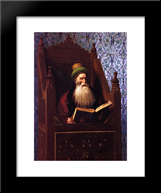 Mufti Reading In His Prayer Stool: Modern Custom Black Framed Art Print by Jean Leon Gerome