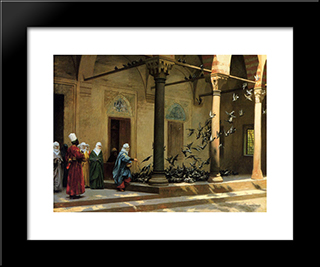 Harem Women Feeding Pigeons In A Courtyard: Modern Custom Black Framed Art Print by Jean Leon Gerome
