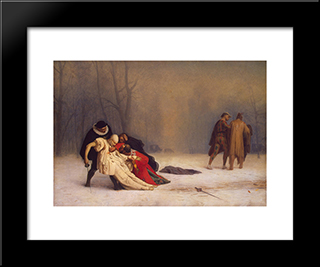 Duel After A Masquerade Ball: Modern Custom Black Framed Art Print by Jean Leon Gerome