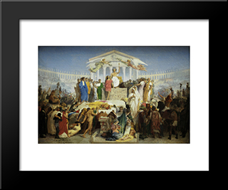 The Age Of Augustus, The Birth Of Christ: Modern Custom Black Framed Art Print by Jean Leon Gerome