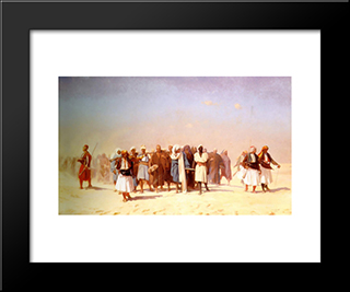 Egyptian Recruits Crossing The Desert: Modern Custom Black Framed Art Print by Jean Leon Gerome
