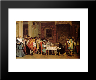 Louis Xiv And Moliere: Modern Custom Black Framed Art Print by Jean Leon Gerome