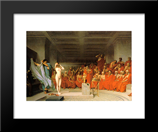 Phryne Before The Areopagus: Modern Custom Black Framed Art Print by Jean Leon Gerome