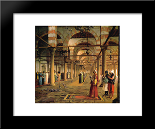 Public Prayer In The Mosque Of Amr, Cairo: Modern Custom Black Framed Art Print by Jean Leon Gerome