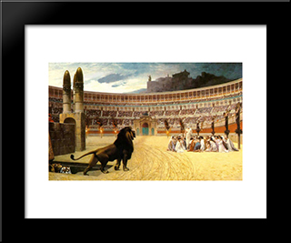 The Christian Martyrs' Last Prayer: Modern Custom Black Framed Art Print by Jean Leon Gerome