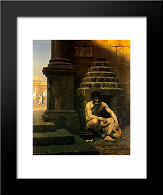 Beware The Dog: Modern Custom Black Framed Art Print by Jean Leon Gerome