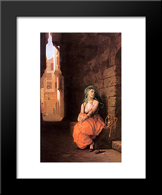 Arab Girl With Waterpipe: Modern Custom Black Framed Art Print by Jean Leon Gerome