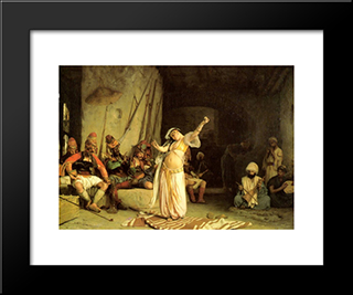 The Dance Of The Almeh: Modern Custom Black Framed Art Print by Jean Leon Gerome