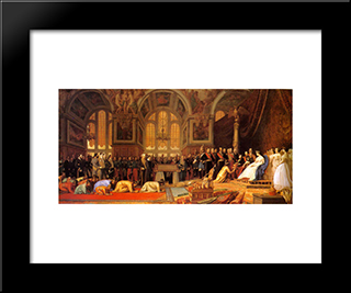 The Reception Of The Siamese Ambassadors At Fontainebleau: Modern Custom Black Framed Art Print by Jean Leon Gerome