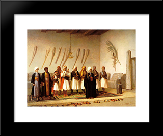 Prayer In The House Of An Arnaut Chief: Modern Custom Black Framed Art Print by Jean Leon Gerome