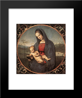 Madonna With The Book: Modern Custom Black Framed Art Print by Raphael
