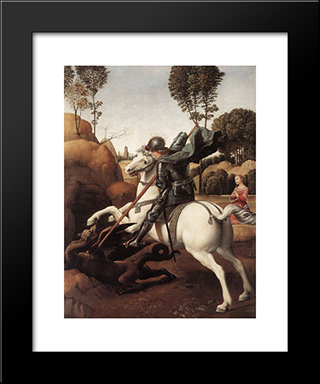 St George And The Dragon: Modern Custom Black Framed Art Print by Raphael