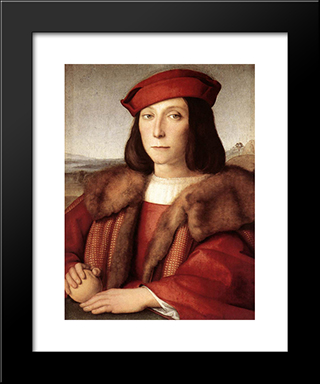 Young Man With An Apple: Modern Custom Black Framed Art Print by Raphael
