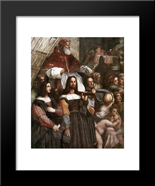 The Expulsion Of Heliodorus From The Temple [Detail: 1]: Modern Custom Black Framed Art Print by Raphael