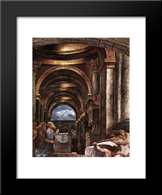 The Expulsion Of Heliodorus From The Temple [Detail: 2]: Modern Custom Black Framed Art Print by Raphael