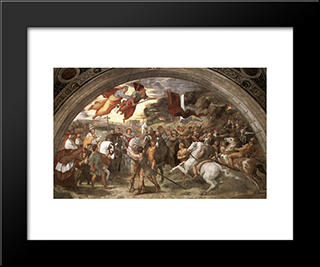 The Meeting Between Leo The Great And Attila: Modern Custom Black Framed Art Print by Raphael