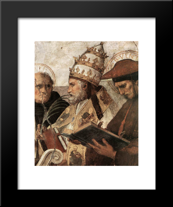 Disputation Of The Holy Sacrament (La Disputa) [Detail: 8]: Modern Custom Black Framed Art Print by Raphael