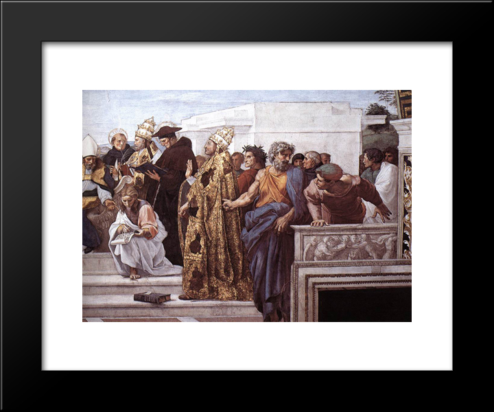 Disputation Of The Holy Sacrament (La Disputa) [Detail: 13]: Modern Custom Black Framed Art Print by Raphael
