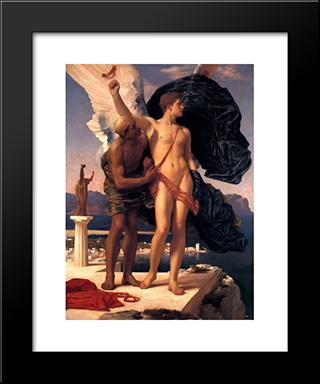 Daedalus And Icarus: Modern Custom Black Framed Art Print by Frederic Leighton