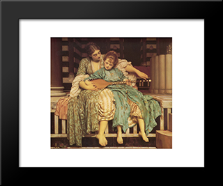 Music Lesson: Modern Custom Black Framed Art Print by Frederic Leighton