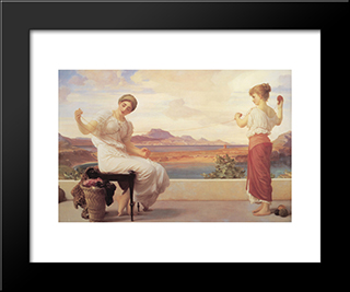 Winding The Skein: Modern Custom Black Framed Art Print by Frederic Leighton