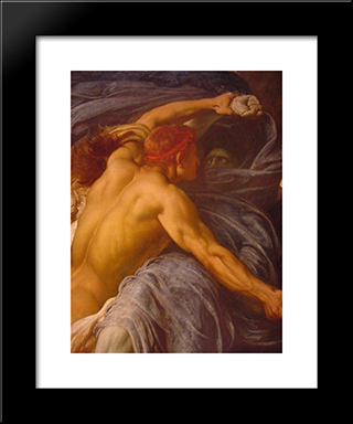 Hercules Wrestling With Death For The Body Of Alcestis [Detail #1]: Modern Custom Black Framed Art Print by Frederic Leighton