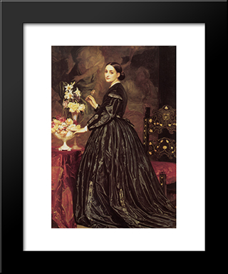 Mrs James Guthrie: Modern Custom Black Framed Art Print by Frederic Leighton