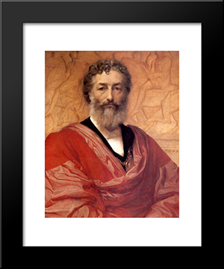 Self-Portrait: Modern Custom Black Framed Art Print by Frederic Leighton