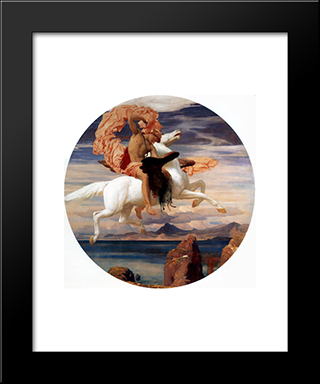 Perseus On Pegasus Hastening To The Rescue Of Andromeda: Modern Custom Black Framed Art Print by Frederic Leighton