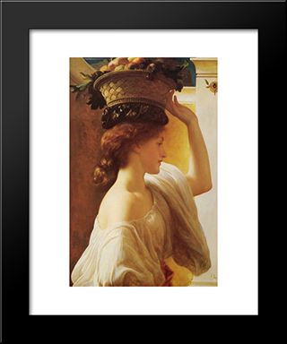 Eucharis - A Girl With A Basket Of Fruit: Modern Custom Black Framed Art Print by Frederic Leighton
