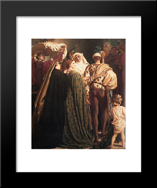 Dante In Exile [Detail: Left]: Modern Custom Black Framed Art Print by Frederic Leighton