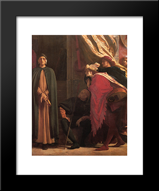 Dante In Exile [Detail: Right]: Modern Custom Black Framed Art Print by Frederic Leighton