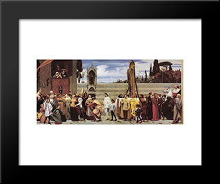 Cimabue'S Celebrated Madonna: Modern Custom Black Framed Art Print by Frederic Leighton