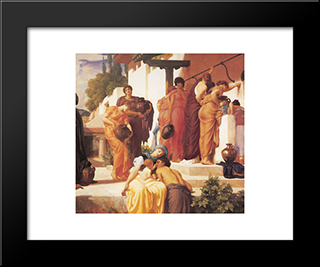 Captive Andromache [Detail: Right]: Modern Custom Black Framed Art Print by Frederic Leighton