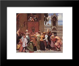 Cimabue'S Celebrated Madonna [Detail: Left]: Modern Custom Black Framed Art Print by Frederic Leighton
