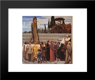 Cimabue'S Celebrated Madonna [Detail: Right]: Modern Custom Black Framed Art Print by Frederic Leighton