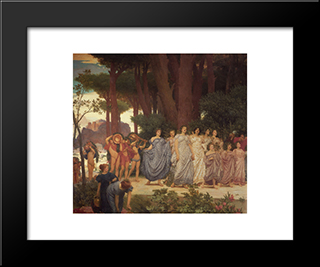 The Daphnephoria [Detail: Left]: Modern Custom Black Framed Art Print by Frederic Leighton