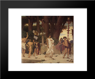The Daphnephoria [Detail: Right]: Modern Custom Black Framed Art Print by Frederic Leighton
