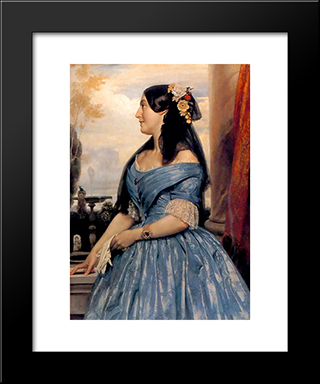 Portrait Of A Lady: Modern Custom Black Framed Art Print by Frederic Leighton