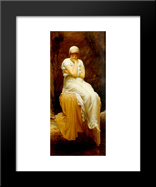 Solitude: Modern Custom Black Framed Art Print by Frederic Leighton