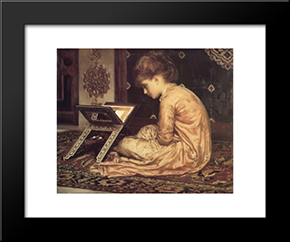 Study: At A Reading Desk: Modern Custom Black Framed Art Print by Frederic Leighton