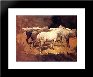 Horses At Palma: Modern Custom Black Framed Art Print by John Singer Sargent