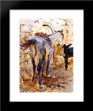 Saddle Horse, Palestine: Modern Custom Black Framed Art Print by John Singer Sargent