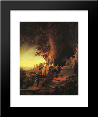 The Risen Christ Appearing To Mary Magdalen: Modern Custom Black Framed Art Print by Rembrandt