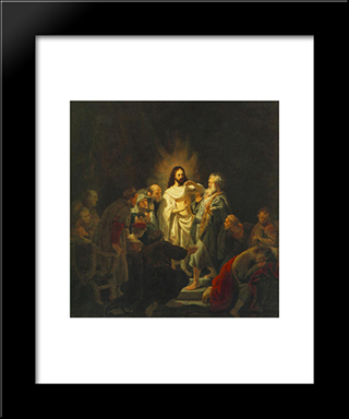 The Incredulity Of St. Thomas: Modern Custom Black Framed Art Print by Rembrandt